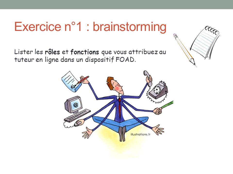Exercice n°1 : brainstorming Lister les rôles et fonctions que vous attribuez au tuteur en ligne dans un dispositif FOAD.
