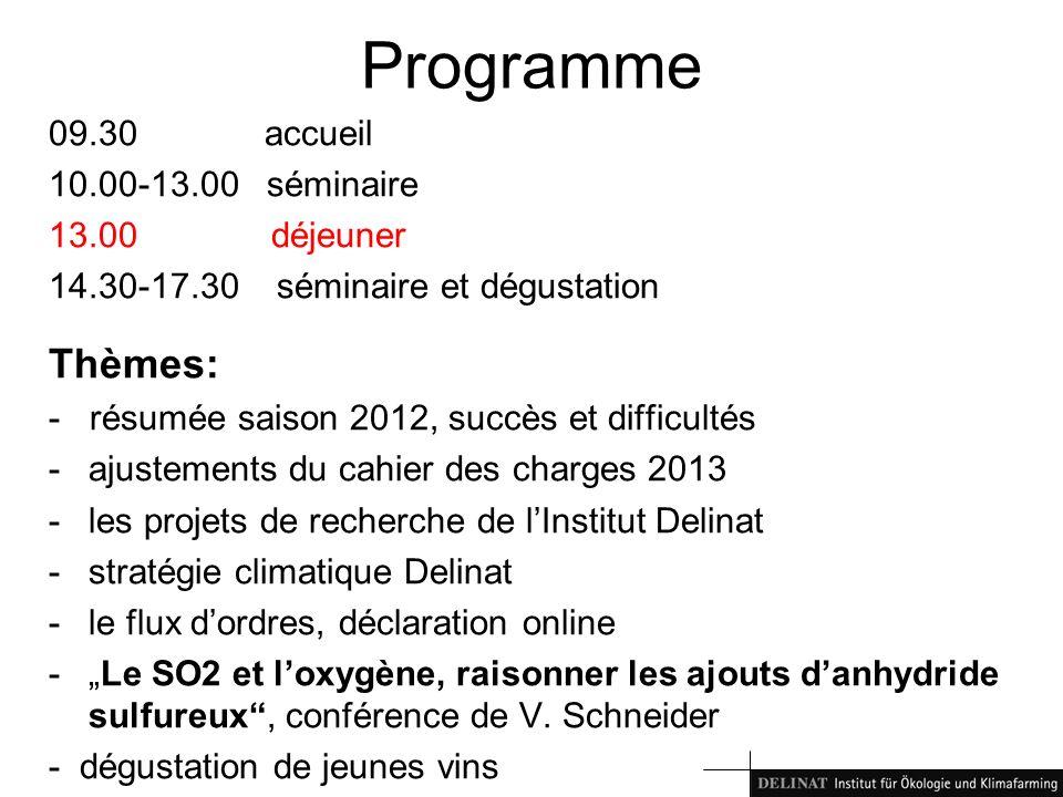 Programme 09.30 accueil 10.00-13.00 séminaire 13.00 déjeuner 14.30-17.30 séminaire et dégustation Thèmes: - résumée saison 2012, succès et difficultés