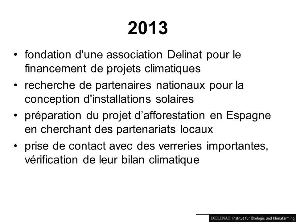 2013 fondation d une association Delinat pour le financement de projets climatiques recherche de partenaires nationaux pour la conception d installations solaires préparation du projet dafforestation en Espagne en cherchant des partenariats locaux prise de contact avec des verreries importantes, vérification de leur bilan climatique