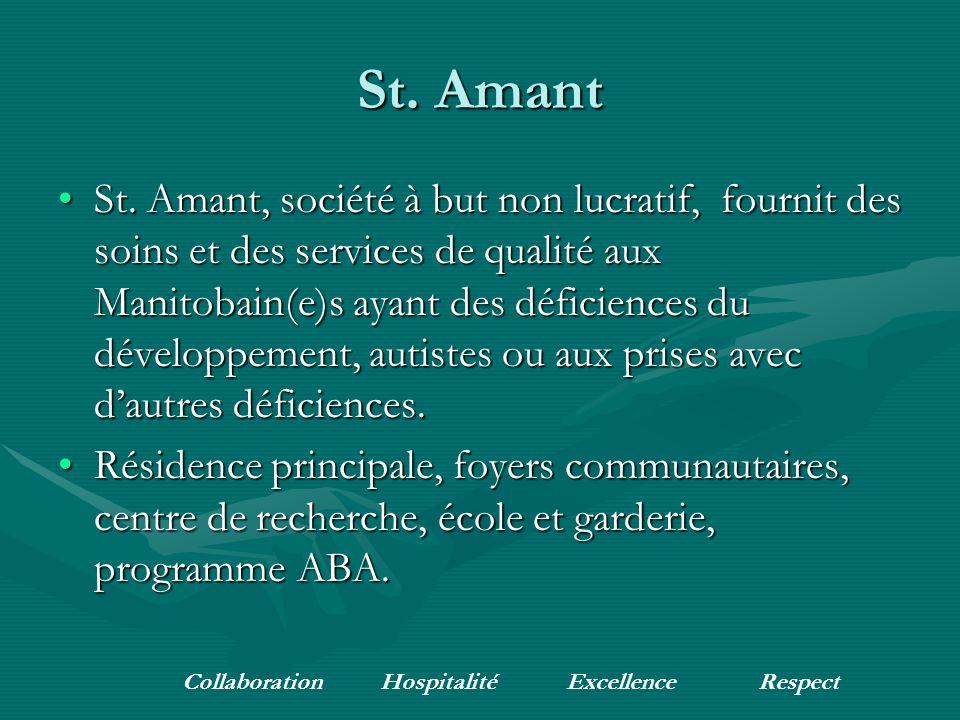 Pamphlets disponiblesPamphlets disponibles Site web: www.stamant.mb.caSite web: www.stamant.mb.ca Téléphone : (204) 256-4301Téléphone : (204) 256-4301 Collaboration Hospitalité ExcellenceRespect
