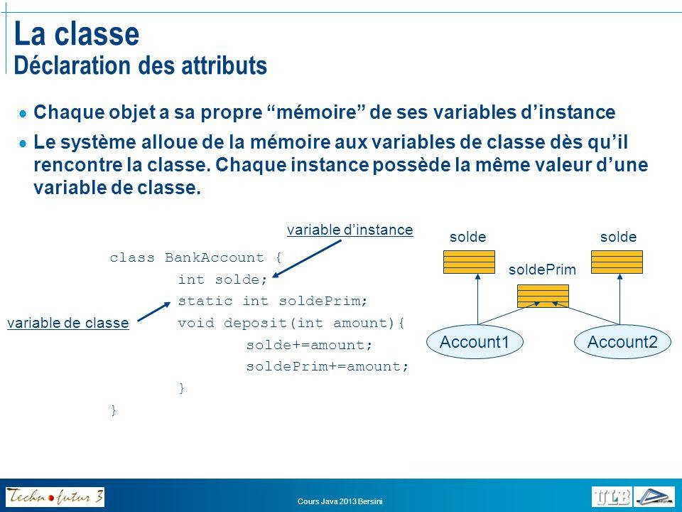 Cours Java 2013 Bersini La classe Déclaration des attributs Variables et méthodes statiques Initialisées dès que la classe est chargée en mémoire Pas besoin de créer un objet (instance de classe) Méthodes statiques Fournissent une fonctionnalité à une classe entière Cas des méthodes non destinées à accomplir une action sur un objet individuel de la classe Exemples: Math.random(), Integer.parseInt(String s), main(String[] args) Les méthodes statiques ne peuvent pas accéder aux variables dinstances (elles sont au-dessus des variables dinstances) class AnIntegerNamedX { int x; static public int x() { return x; } static public void setX(int newX) { this.x = newX; } } x est une variable dinstance, donc inaccessible pour la méthode static setX