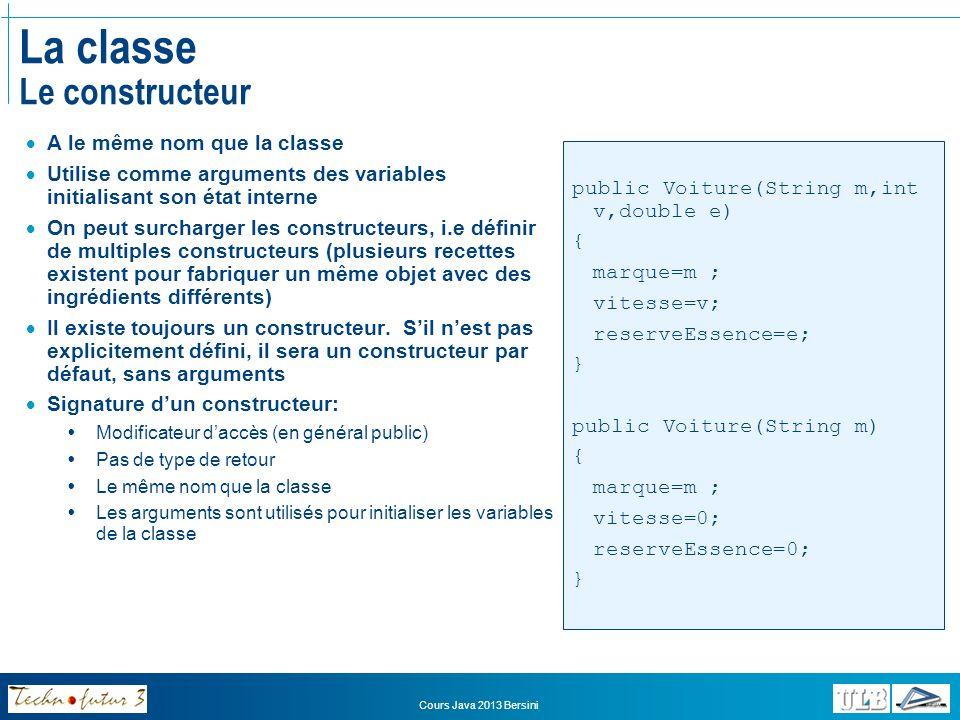 Cours Java 2013 Bersini Exercices Comptes en banque Créer deux constructeurs différents dans la classe CompteEnBanque