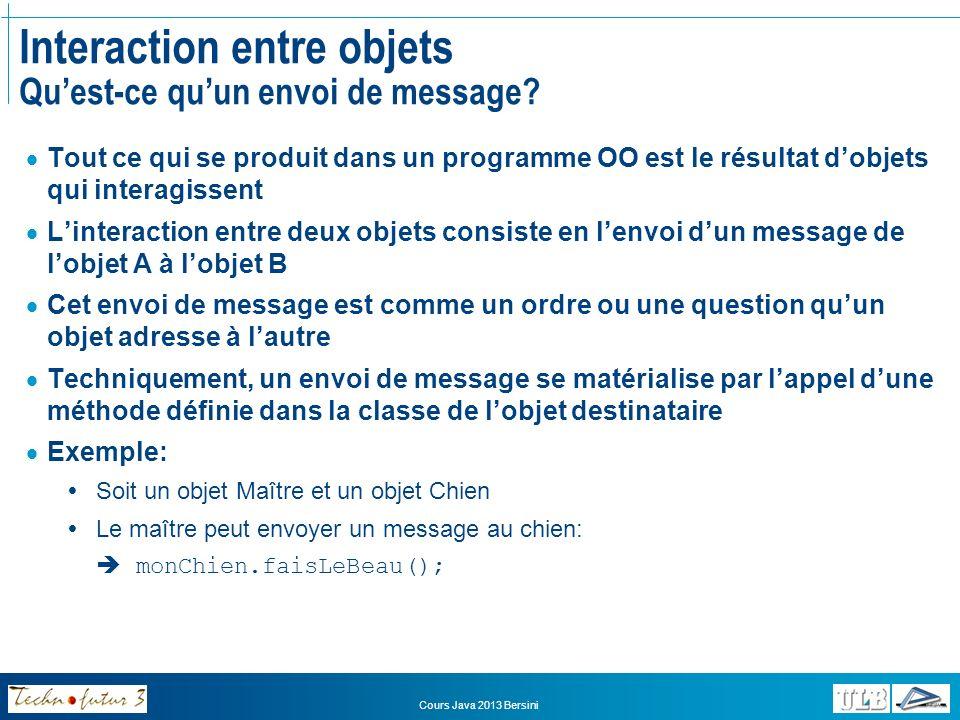 Cours Java 2013 Bersini Interaction entre objets Quest-ce quun envoi de message.
