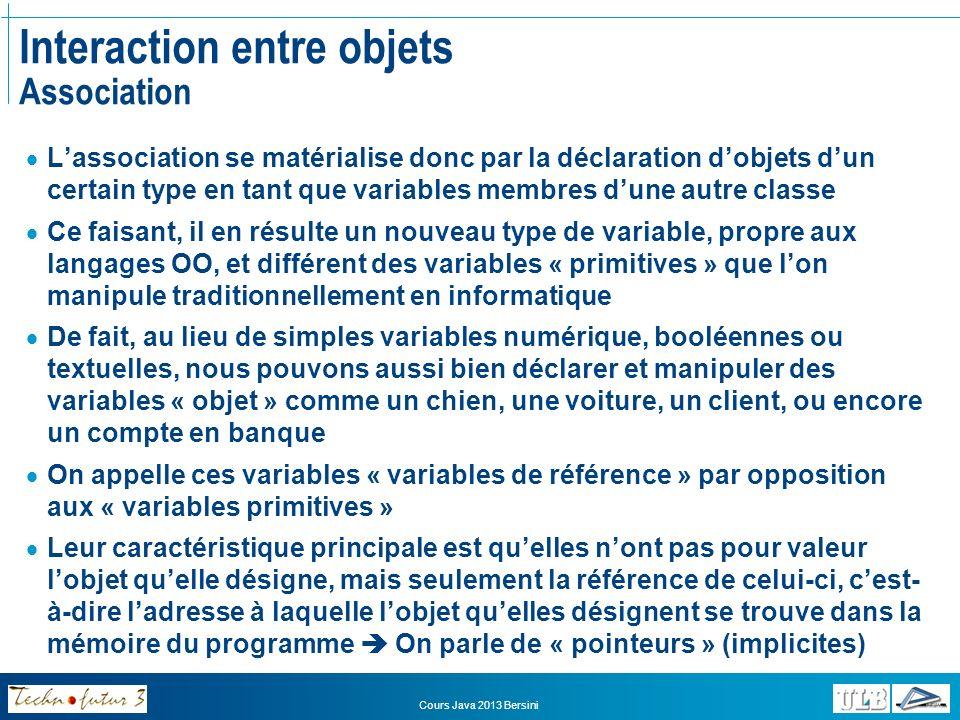 Cours Java 2013 Bersini Interaction entre objets Variables de référence Mémoire des référentsMémoire des valeursMémoire des objets int unNombre10 double unNombreDecimal27.33 boolean unBooléentrue Chien monChienab123d Chien leChienQueTuAsVuab123d Voiture uneVoitureDeCoursee4f5a6 Voiture maVoitured12e45