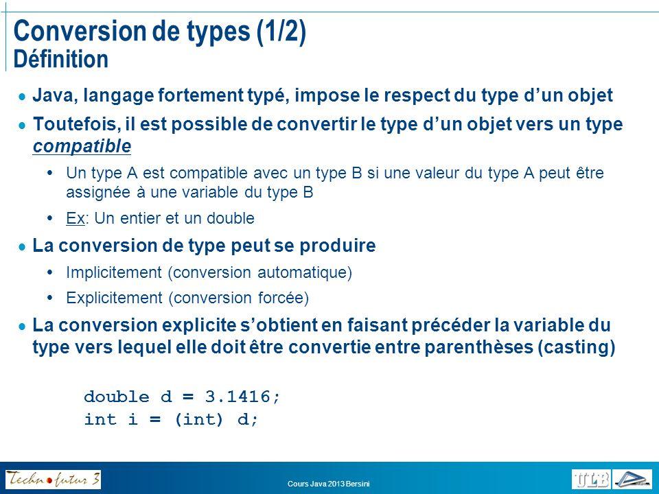 Cours Java 2013 Bersini Conversion de types (2/2) Application Appliquer un opérateur de « cast » au nom dune variable Ne modifie pas la valeur de la variable Provoque le traitement du contenu de la variable en tant que variable du type indiqué, et seulement dans lexpression où lopérateur de cast se trouve Sapplique aux variables de types primitifs et aux variables de types de références Types primitifs: Seulement vers un type plus large (ou risque de perte de données) Interdit pour le type boolean Ex: Short Integer Long Types de références: Vers une classe parent ou une interface implémentée (ou risque derreur) Dans ce cas, lopérateur de cast nest pas nécessaire (en fonction du contexte) Peuvent toujours être castés vers OBJECT Ex: Voiture VéhiculesMotorisés Véhicules Object