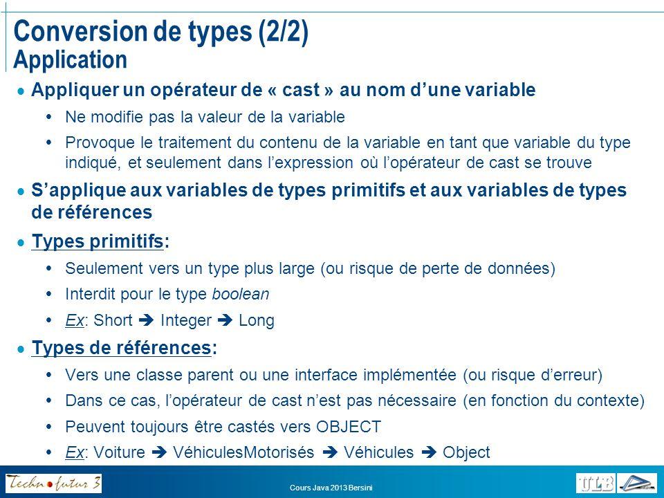 Cours Java 2013 Bersini Exercice Conversion de types Analyser le code de lapplication « Circulation » Observer les mécanismes de conversion de types Déterminer les conversions valides et celles qui provoqueront une erreur à la compilation Corriger la classe Circulation pour que lapplication puisse être compilée et exécutée correctement Analyser ensuite la même application avec cette fois la classe « Circulation2 » pour classe principale (sans erreurs) et en observer les mécanismes de conversion de types Quels risques pourraient se présenter en utilisant ces techniques sur des collections hétérogènes?