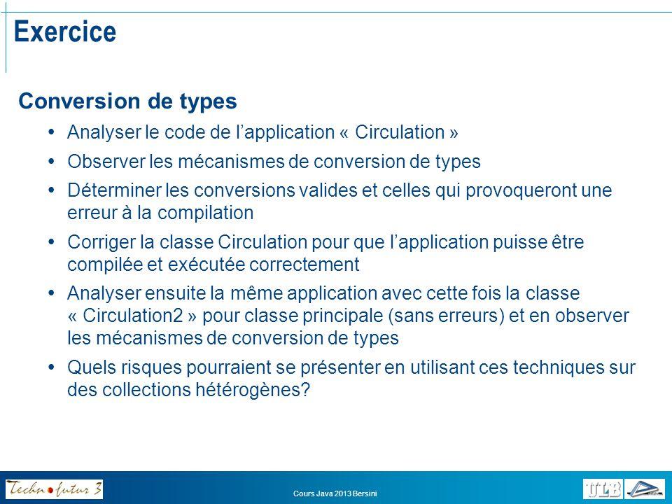 Cours Java 2013 Bersini Héritage Redéfinition de méthodes La redéfinition de méthode consiste à fournir dans une sous-classe une nouvelle implémentation dune classe déjà déclarée dans une classe parent La redéfinition nest pas obligatoire !.