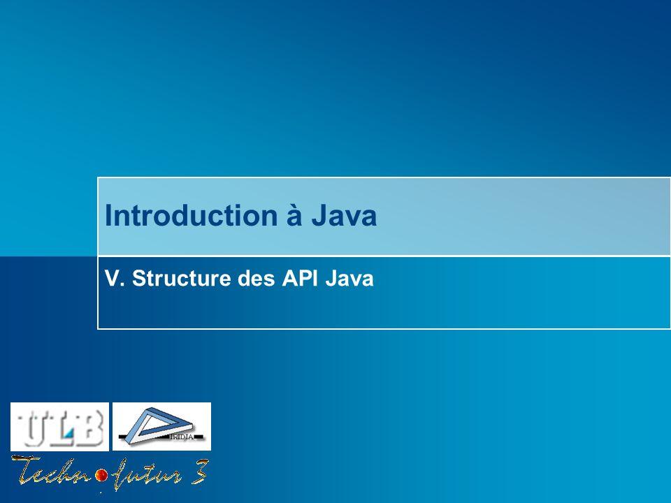 Cours Java 2013 Bersini Survol du chapitre Introduction Organisation générale des API Packages JAVA JAVAX ORG