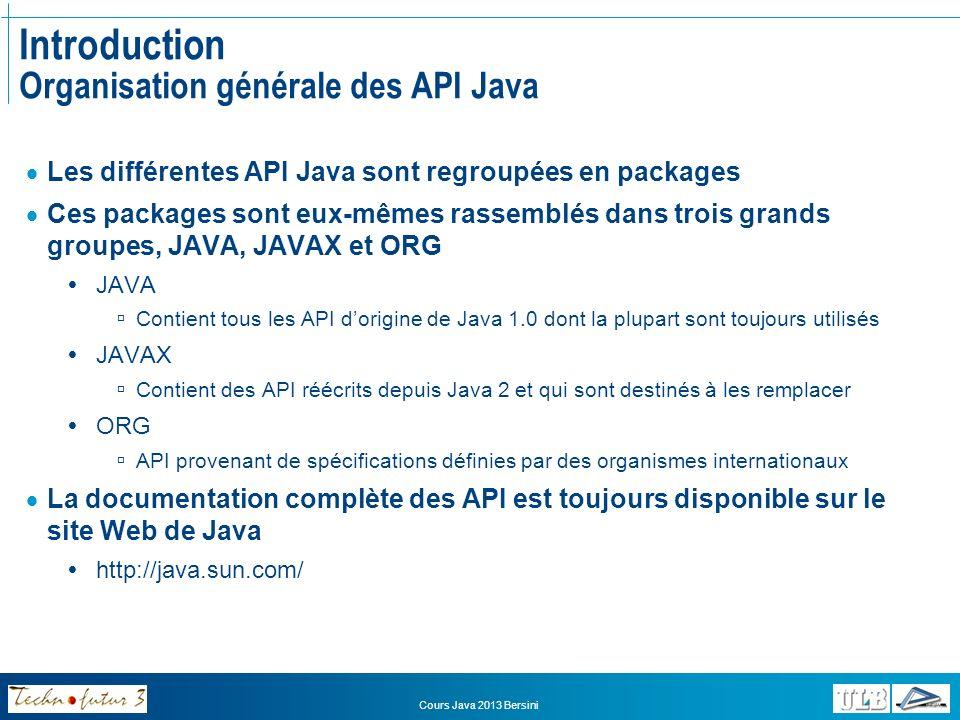 Cours Java 2013 Bersini Packages JAVA PackageDescription java.appletClasses nécessaires à la création dapplets java.awtAbstract Windowing Toolkit Interfaces graphiques, événements… java.beansPour le développement de composants JavaBeans java.ioPour la gestion des IO systèmes (système de fichiers, etc.) java.langClasses fondamentales du langage (toujours importées par défaut) java.mathPour les traitements arithmétiques demandant une grand précision java.netPour les connexions et la gestion réseau java.nioDéfinit des tampons java.rmiToutes les classes liées au package RMI (Remote Method Invokation) java.securityClasses et interfaces du framework de sécurité Java java.sqlPour laccès et la gestion des bases de données JDBC java.textPour la manipulation de texte, dates, nombres et messages java.utilCollections, modèle événementiel, dates/heures, internationalisation