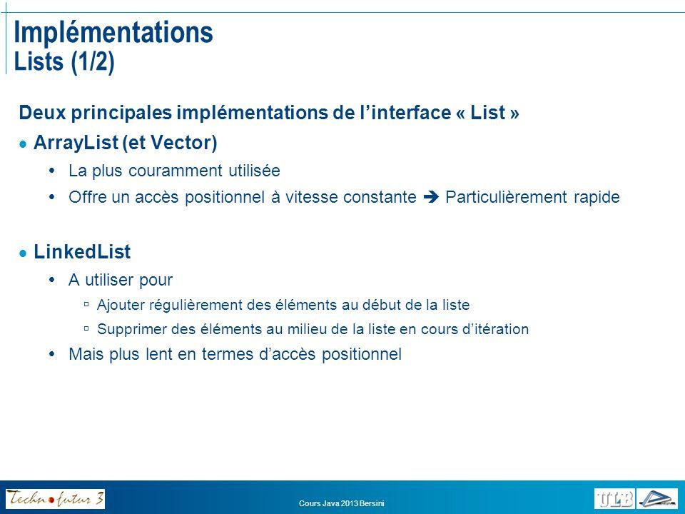 Cours Java 2013 Bersini Implémentations Lists (2/2) Opérations spécifiques aux listes: Obtenir la position dun objet indexOf(Object o): int lastIndexOf(Object o): int Récupérer lobjet en position i get(int i) Renvoie un objet de type « Object » Devra être converti (cast) Placer un objet à une certaine position set(int i, Object o) Supprimer lobjet en position i remove(int i) removeRange(int fromIndex, int toIndex)