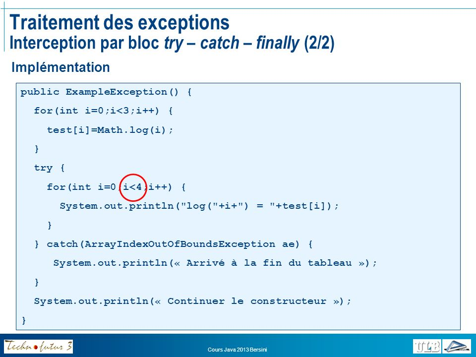 Cours Java 2013 Bersini Traitement des exceptions Interception par bloc try – catch – finally (2/2) Implémentation public ExampleException() { for(int