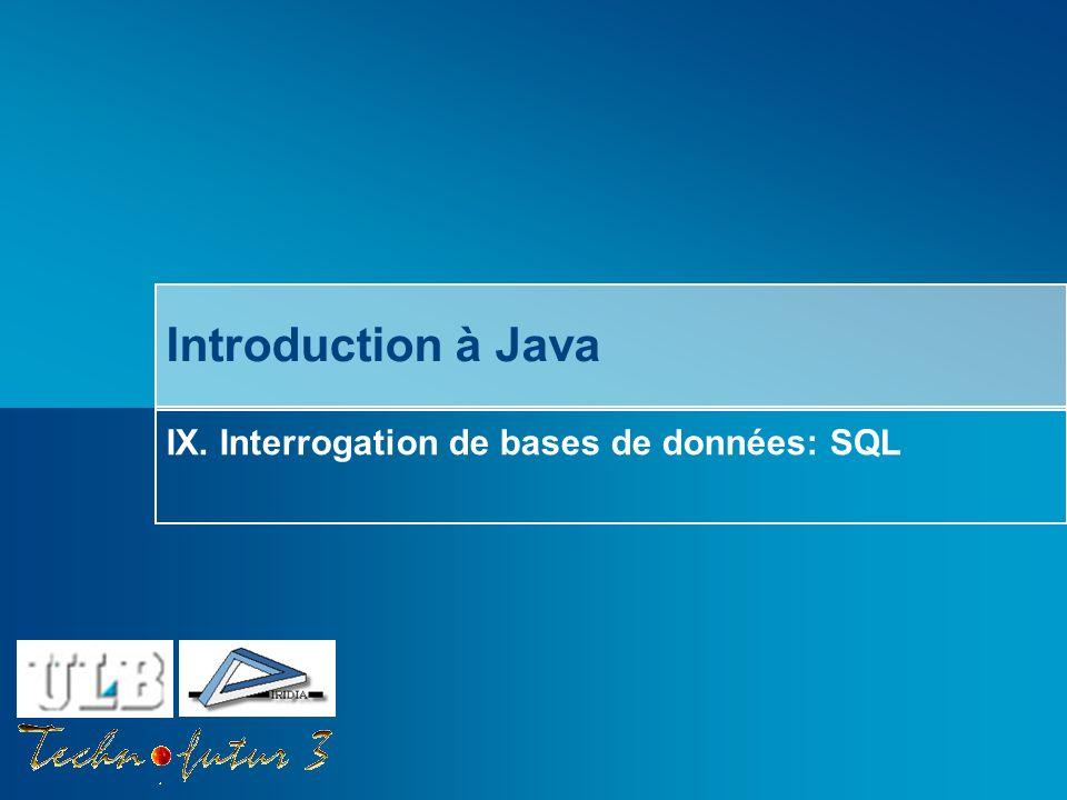 Cours Java 2013 Bersini Interrogation de bases de données avec SQL Quest-ce que SQL.