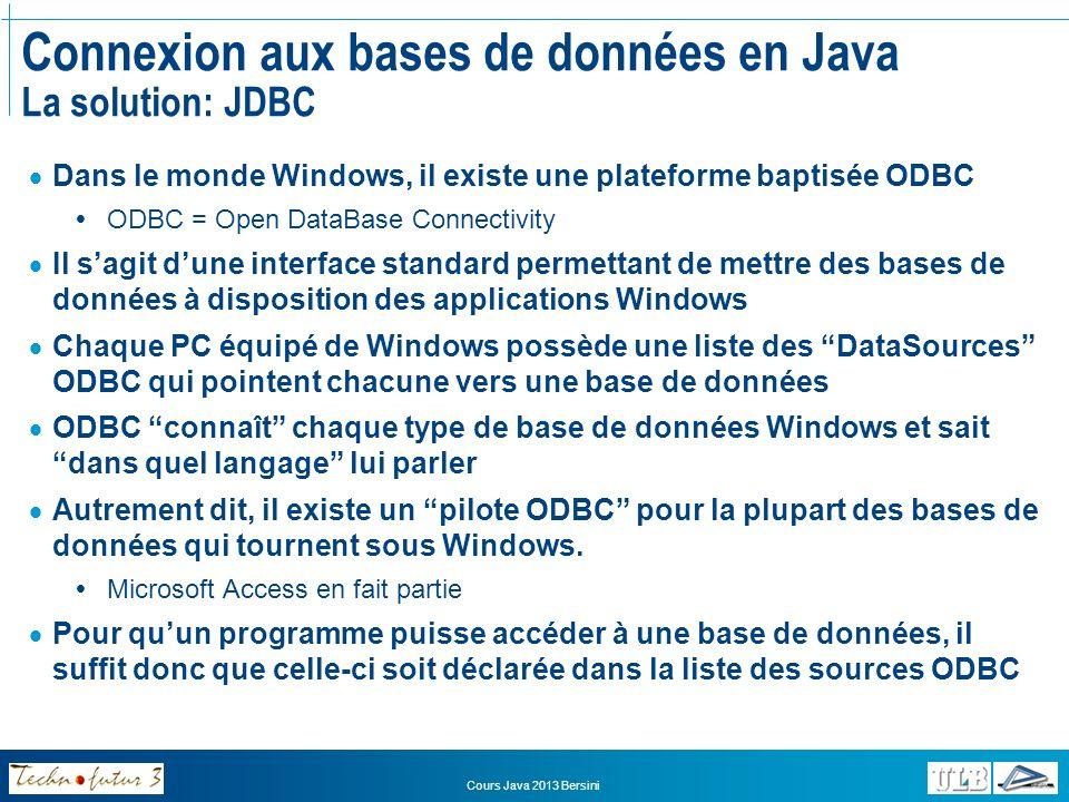 Cours Java 2013 Bersini PROJET Déclarez votre base de données MS Access comme une source de données ODBC 1.Ouvrez le menu « Démarrer » puis « Data Sources ODBC » 2.Cliquez sur « Ajouter » 3.Choisissez « Microsoft Access Driver (*.mdb) » dans la liste 4.Cliquez sur Finish 5.Donnez un nom (simple) à votre source de données 6.Cliquez sur « Select… » 7.Repérez et sélectionnez votre base de données et cliquez sur OK (Notez que votre BD pourrait très bien se trouver sur un autre ordinateur) 8.Cliquez sur OK pour fermer le panneau de contrôle ODBC Votre base de données MS Access est maintenant reconnue comme une source accessible via ODBC