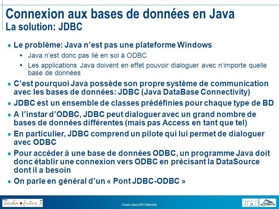 Cours Java 2013 Bersini Connexion aux bases de données en Java La solution: JDBC