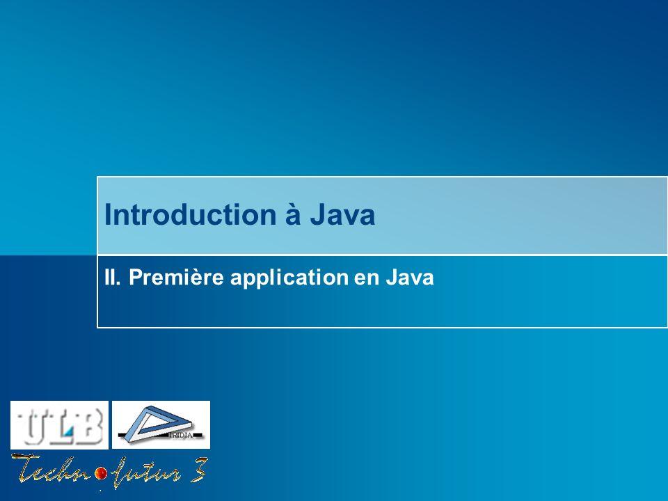 Cours Java 2013 Bersini Deux façons décrire des programmes Java: En écrivant le code dans un simple éditeur de texte Compilation et exécution du code en ligne de commande (DOS) En utilisant un environnement de développement (IDE) Eclipse (http://www.eclipse.org)http://www.eclipse.org Netbeans (http://www.netbeans.com)http://www.netbeans.com Borland JBuilder (http://www.borland.com/jbuilder)http://www.borland.com/jbuilder IBM WebSphere Studio (http://www.ibm.com/software/awdtools)http://www.ibm.com/software/awdtools Sun ONE Studio (http://wwws.sun.com/software/sundev)http://wwws.sun.com/software/sundev Microsoft.Net Studio (http://msdn.microsoft.com/vstudio)http://msdn.microsoft.com/vstudio Comment développer une application?
