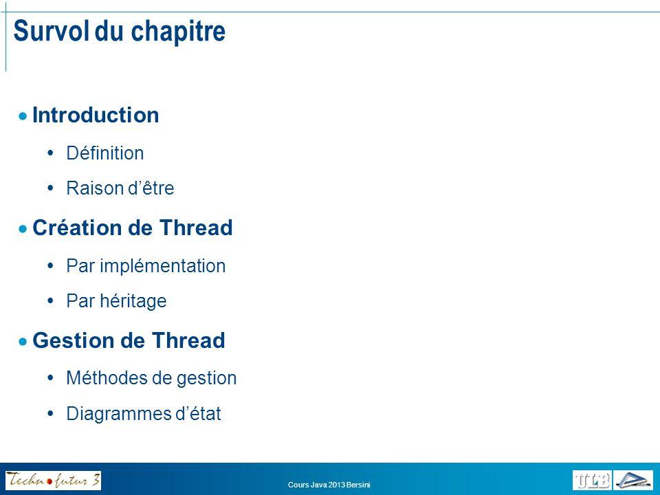 Cours Java 2013 Bersini Introduction Quest-ce quun Thread.