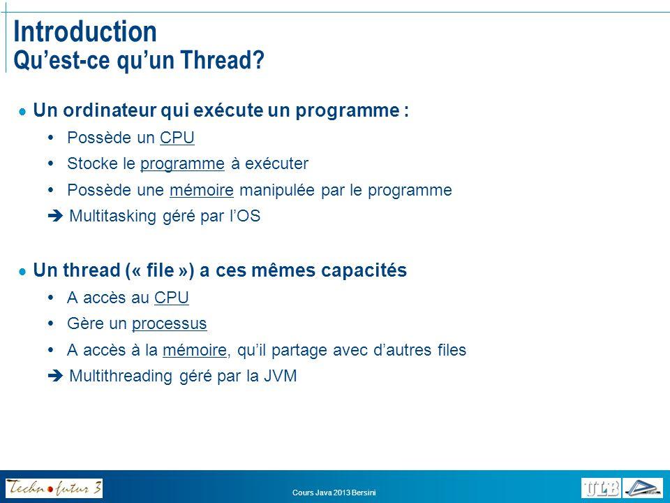 Cours Java 2013 Bersini Introduction Pourquoi le multithreading.