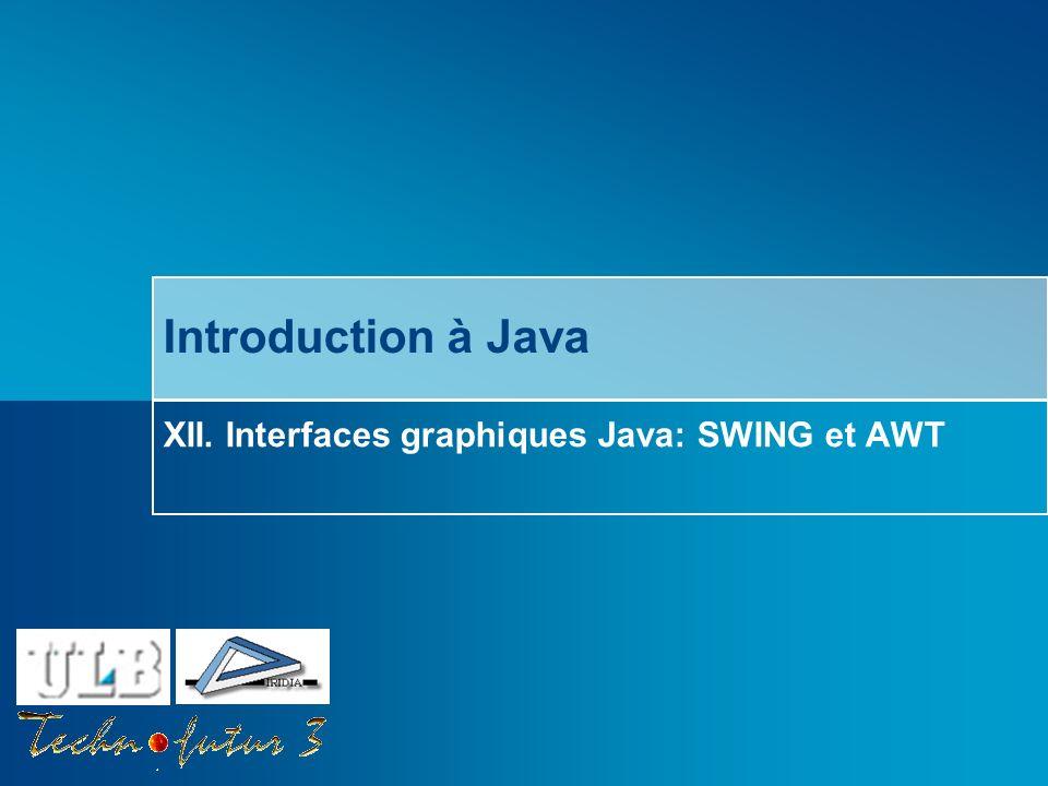 Cours Java 2013 Bersini Interfaces graphiques Java: SWING et AWT Quest-ce quune interface graphique (GUI).
