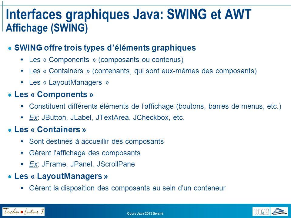 Cours Java 2013 Bersini Interfaces graphiques Java: SWING et AWT Affichage (SWING) Component Container 1 * JButton JLabel JFrame JPanel LayoutManager BorderLayout FlowLayout 1 1 add
