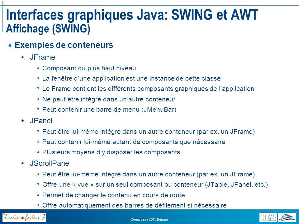 Cours Java 2013 Bersini Interfaces graphiques Java: SWING et AWT Affichage (SWING) Barres et éléments de menus JMenuBar Une barre de menu (une seule par JFrame) Contient différents menus (JMenu) JMenu Représente un menu dans une barre de menu Contient différents éléments (JMenuItem) Contient un intitulé JMenuItem Représente un élément de menu Contient un intitulé Peut être associé à des raccourcis clavier