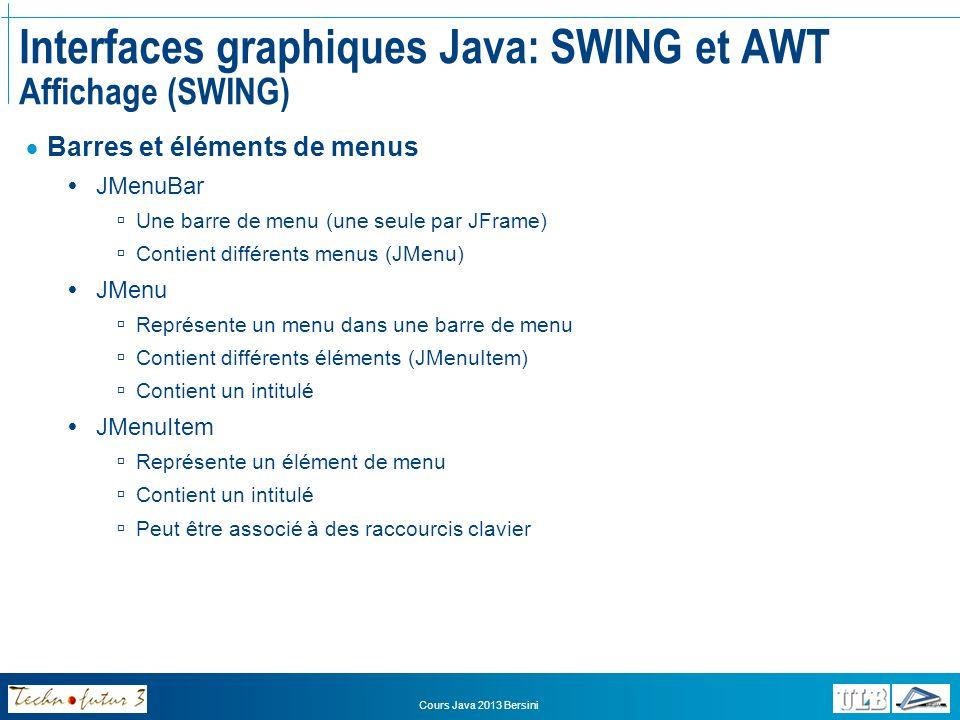 Cours Java 2013 Bersini Interfaces graphiques Java: SWING et AWT Affichage (SWING) Constructeurs des composants: JTextArea (zone de texte) new JTextArea(String texteAAfficher); JTable (table de données) new JTable(Object[ ][ ] donnees, String[ ] intitules); Il faut un tableau de chaînes de caractères contenant les intitulés des colonnes Et une matrice dobjets dont chaque rangée est une ligne du tableau JButton (bouton) new JButton(String intitule); JCheckBox (case à cocher) new JCheckBox(String intitule); JLabel (étiquette/intitulé) new JLabel(String intitule); JComboBox (liste déroulante) new JComboBox();