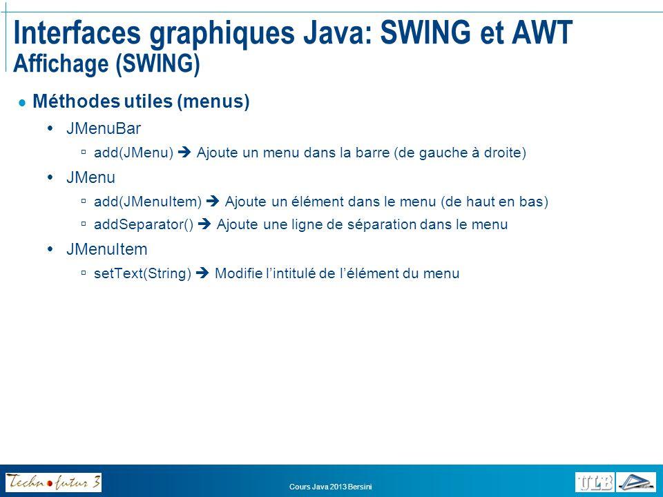 Cours Java 2013 Bersini Interfaces graphiques Java: SWING et AWT Affichage (SWING) Comment utiliser les composants et conteneurs prédéfinis.