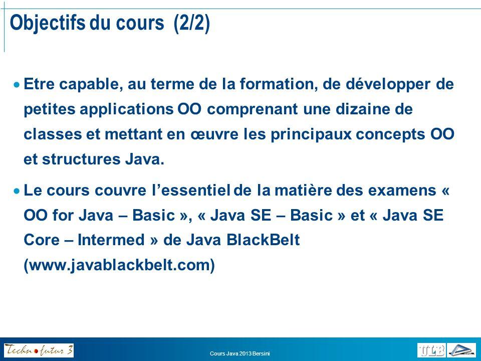 Cours Java 2013 Bersini Plan du cours (1/4) 1.