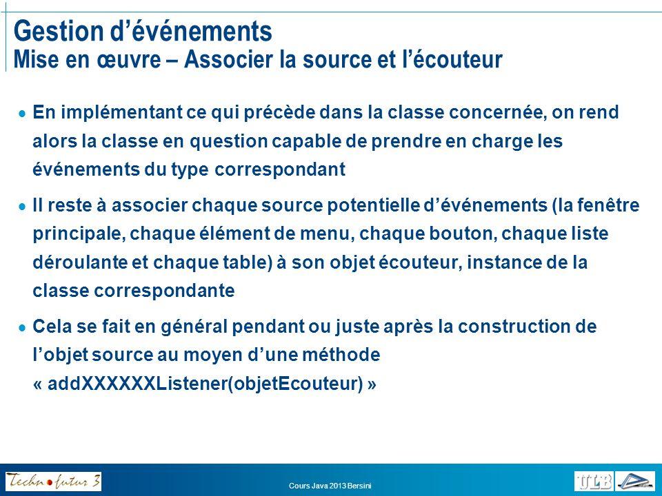 Cours Java 2013 Bersini Gestion dévénements Mise en œuvre – Associer la source et lécouteur Pour informer la fenêtre quelle est son propre écouteur: this.addWindowListener(this); Pour associer un élément de menu à son écouteur : clients = new JMenuItem( Liste des clients ); clients.addActionListener(new GereMenus()); Pour associer un bouton à son écouteur : bouton = new JButton( Sauver la réservation ); bouton.addActionListener(new GereMenus()); Pour associer une table à son écouteur : table = new JTable(dataTable,headersTable); table.setSelectionMode(ListSelectionModel.SINGLE_SELECTION); table.getSelectionModel().addListSelectionListener(new GereTables());