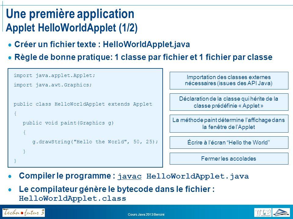 Cours Java 2013 Bersini Une première application Applet HelloWorldApplet (2/2) Les applets sexécutent dans une page HTML Pour intégrer lapplet dans une page HTML, il suffit dutiliser la balise Le paramètre « CODE » de la balise indique le nom de la classe principale de lapplet A Simple Program Here is the output of my program: Ouvrir la page HTML dans un navigateur, lapplet se lance automatiquement au sein de la page