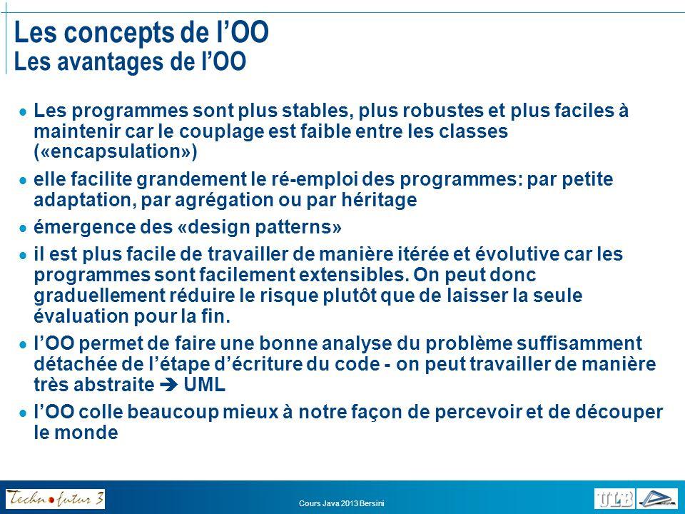 Cours Java 2013 Bersini Les concepts de lOO Les avantages de lOO Tous ces avantages de lOO se font de plus en plus évidents avec le grossissement des projets informatiques et la multiplication des acteurs.