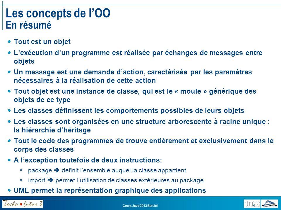 Cours Java 2013 Bersini Les concepts de lOO En résumé Tout est un objet Lexécution dun programme est réalisée par échanges de messages entre objets Un