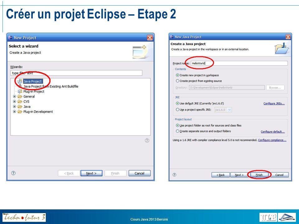 Cours Java 2013 Bersini Créer un projet Eclipse – Etape 3 Le contenu de votre projet (les classes) apparaîtra ici