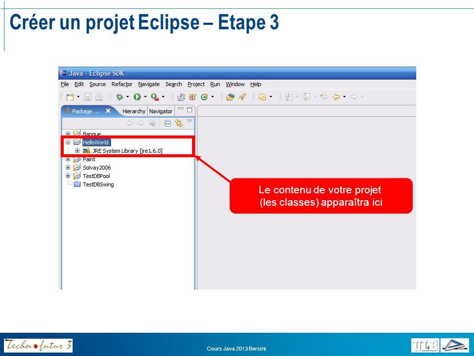 Cours Java 2013 Bersini Une première application en Java Maintenant que notre projet a été créé, nous pouvons commencer à développer une application Une application Java est composée de « Classes » En règle générale, chaque classe correspond à un fichier Chaque fichier « source » (le code de chaque classe) est sauvé avec un nom de fichier correspondant au nom de la classe et lextension «.java » Java est dit « case-sensitive » Distingue majuscules et minuscules!!.