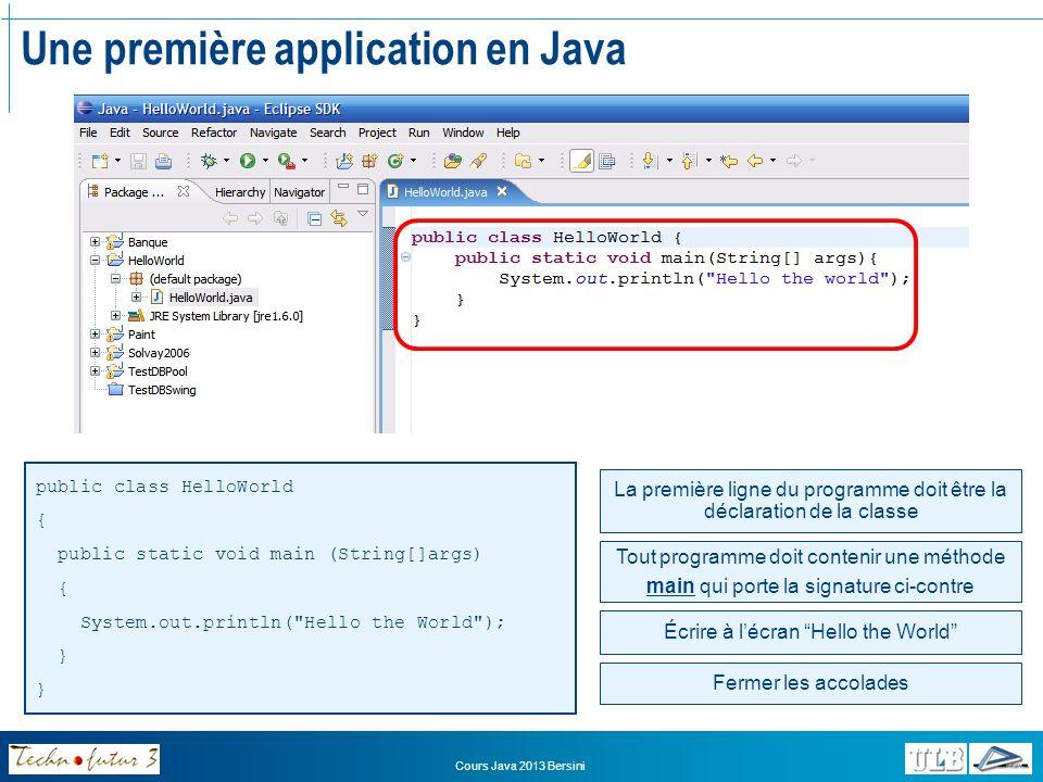 Cours Java 2013 Bersini Une première application en Java Une fois le programme écrit (ici lunique classe), il reste à le lancer Pour lancer une application Java, il faut La compiler (fait automatiquement par Eclipse) Lancer la machine virtuelle (JVM) (fait automatiquement par Eclipse) Ordonner à la JVM dappeler la méthode « main » de la classe principale Créer une « configuration de lancement » dans Eclipse Pour « apprendre » à Eclipse comment lancer notre programme Une fois cette configuration créée, on pourra relancer le programme en cliquant simplement sur le bouton