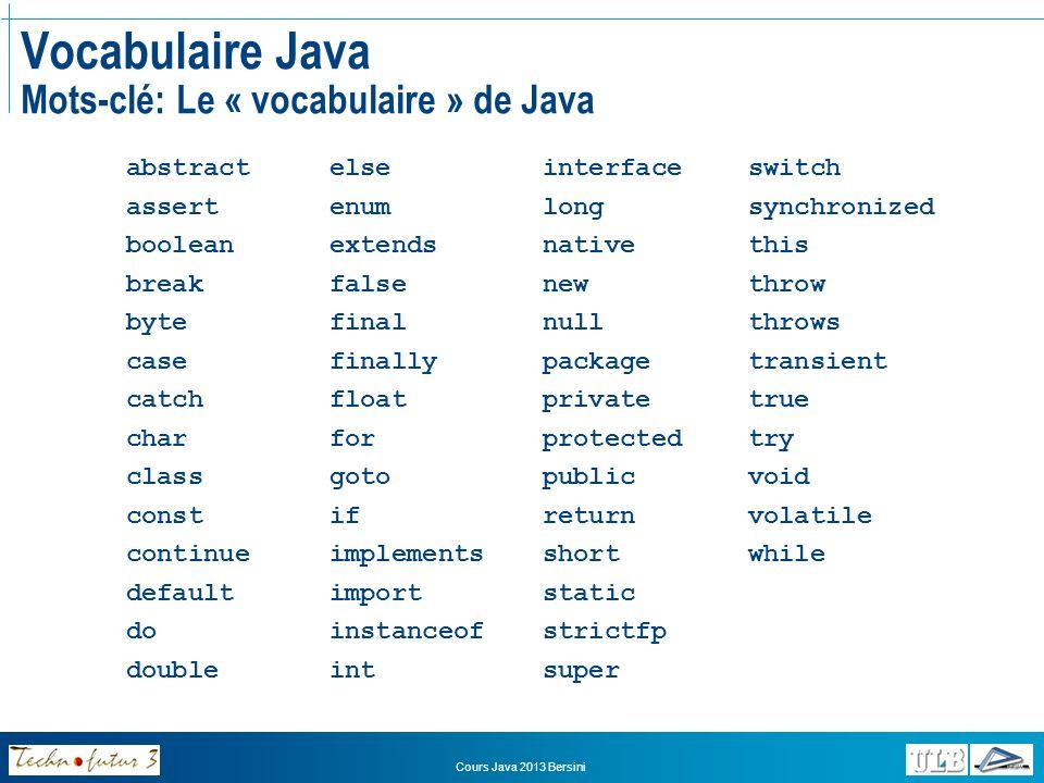 Cours Java 2013 Bersini Vocabulaire Java Identificateurs En informatique, on définit des variables, des classes et des fonctions (ou méthodes) Un identificateur (identifier) permet de désigner une classe, une méthode, une variable, cest le nom que vous choisissez de leur donner On ne peut choisir nimporte quel nom.