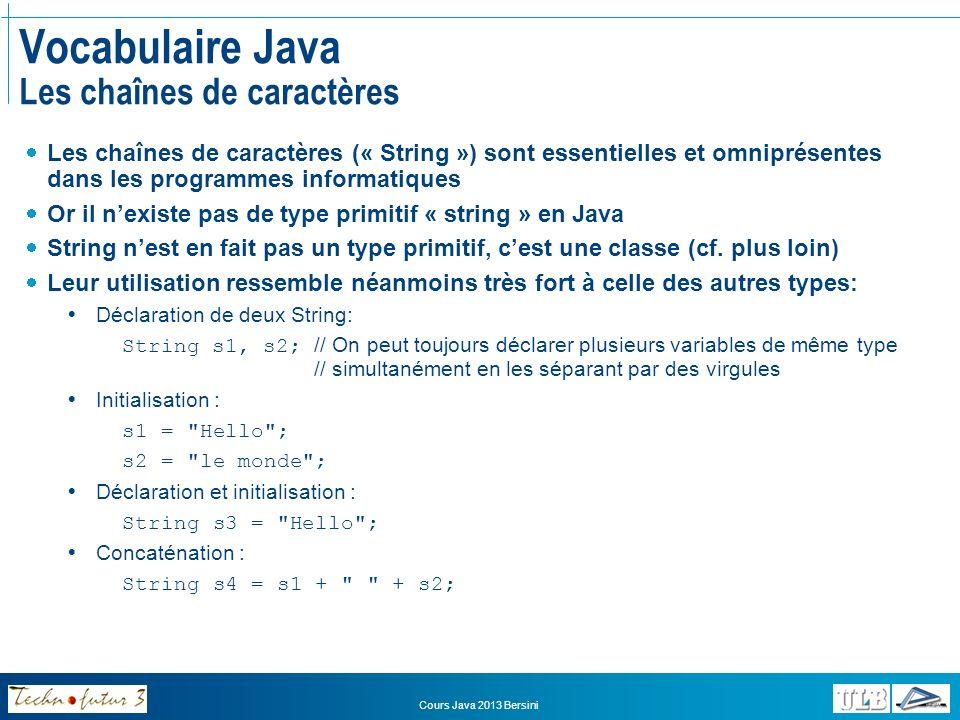 Cours Java 2013 Bersini Grammaire Java Arithmétique et opérateurs: opérateurs arithmétiques Quelle est la valeur de : 5+3*4+(12/4+1) Règles de précédences sur les opérateurs: NiveauSymboleSignification 1()Parenthèse 2 */%*/% Produit Division Modulo 3 +-+- Addition ou concaténation Soustraction