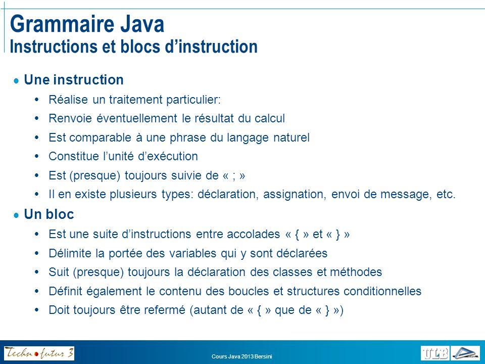Cours Java 2013 Bersini Grammaire Java Instructions et blocs dinstruction Types dinstructions: Déclaration Définit un élément (variable, méthode ou classe) Constitue la signature de cet élément Sil sagit dune déclaration de variable: –Est normalement toujours suivie dun « ; » –Ex: int unNombreEntier; Sil sagit dune déclaration de classe ou de méthode: –Est normalement toujours suivie dun bloc dinstructions –Ex: int uneMethodeQuiRenvoieUnEntier(){…} –On définit alors dans le bloc les traitements (instructions) à réaliser par la méthode Assignation Sert à modifier la valeur dune variable Est toujours suivie dun « ; » Ex: a = 57; Envoi de message Sert à appeler une méthode (lancer un traitement) Est toujours suivie dun « ; » Ex: monChien.vaChercher(leBaton);