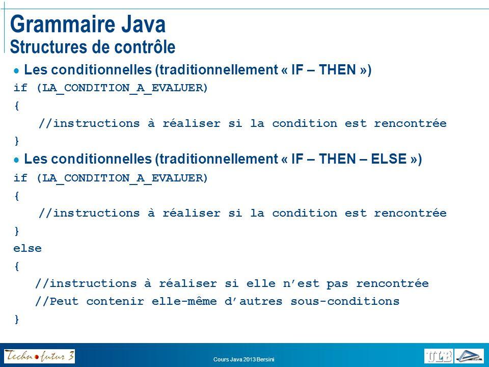 Cours Java 2013 Bersini Grammaire Java Structures de contrôle Une autre forme de conditionnelle: SWITCH – CASE Permet dévaluer une variable numérique entière Et de provoquer des traitements différents selon sa valeur switch(UNE_VARIABLE_NUMERIQUE_ENTIERE) { case 1 : instructions; // A réaliser si elle vaut 1 case 2 : instructions;break; // Si elle vaut 2 default : instructions; // Dans tous les autres cas }