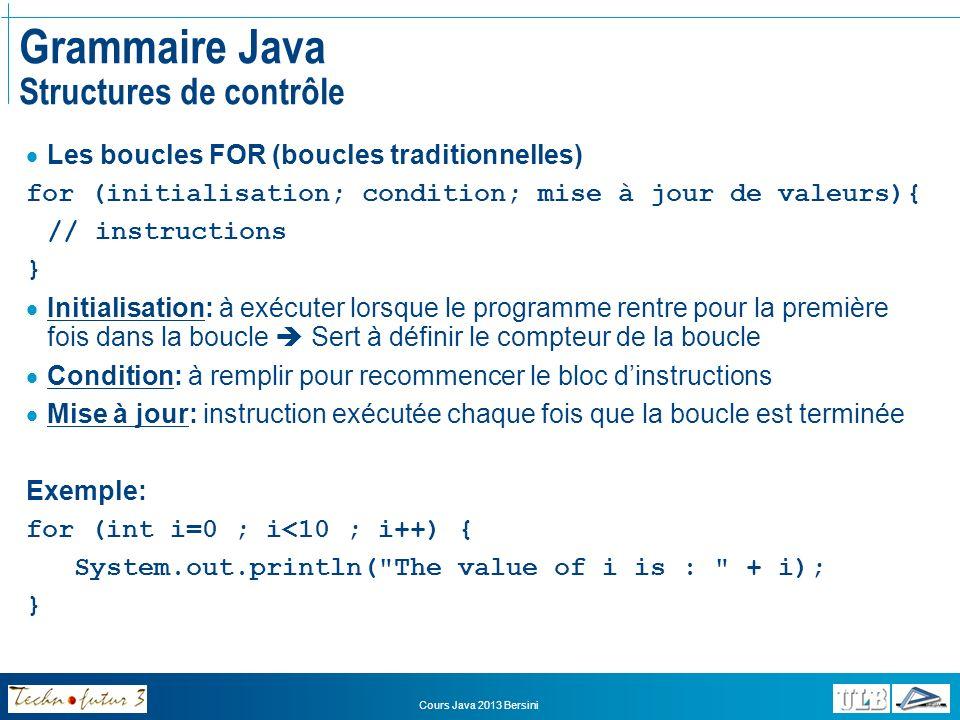 Cours Java 2013 Bersini Grammaire Java Structures de contrôle Un autre forme de boucle: WHILE – DO WHILE while (CONDITION_A_RENCONTRER_POUR_CONTINUER) { // Instructions à réaliser tant que la condition est // rencontrée.