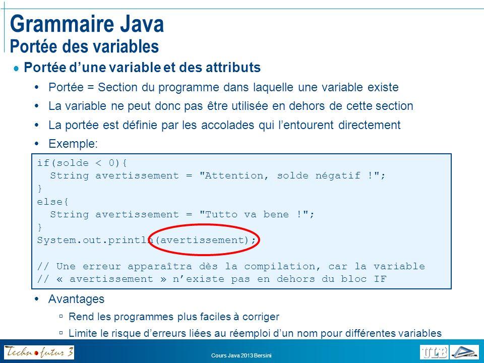 Cours Java 2013 Bersini Grammaire Java Structure dun programme Un programme simple en Java doit avoir la structure suivante: public class NomDeLaClasse { public static void main(String[] args){ // Le programme commence ici // Tout se passe à lintérieur de ces accolades }