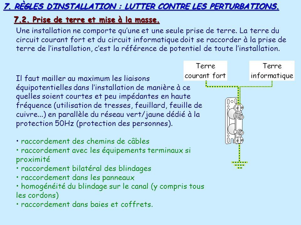 7. RÈGLES DINSTALLATION : LUTTER CONTRE LES PERTURBATIONS. Si les câbles sont dans des conduits encastrés ou apparents, ces conduits doivent être sépa