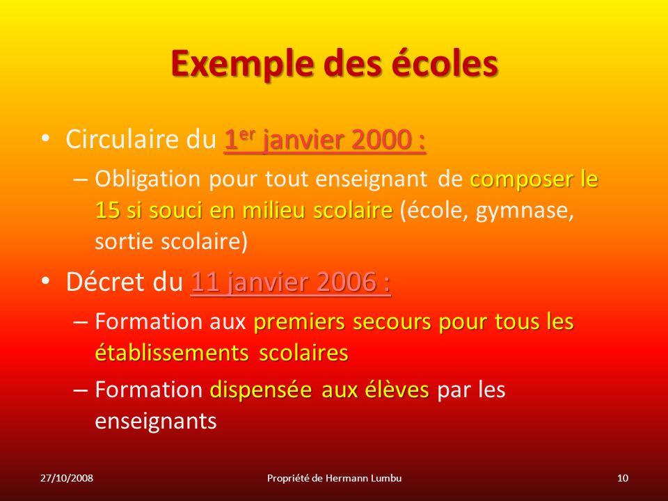 Exemple des écoles 1 er janvier 2000 : Circulaire du 1 er janvier 2000 : composer le 15 si souci en milieu scolaire – Obligation pour tout enseignant