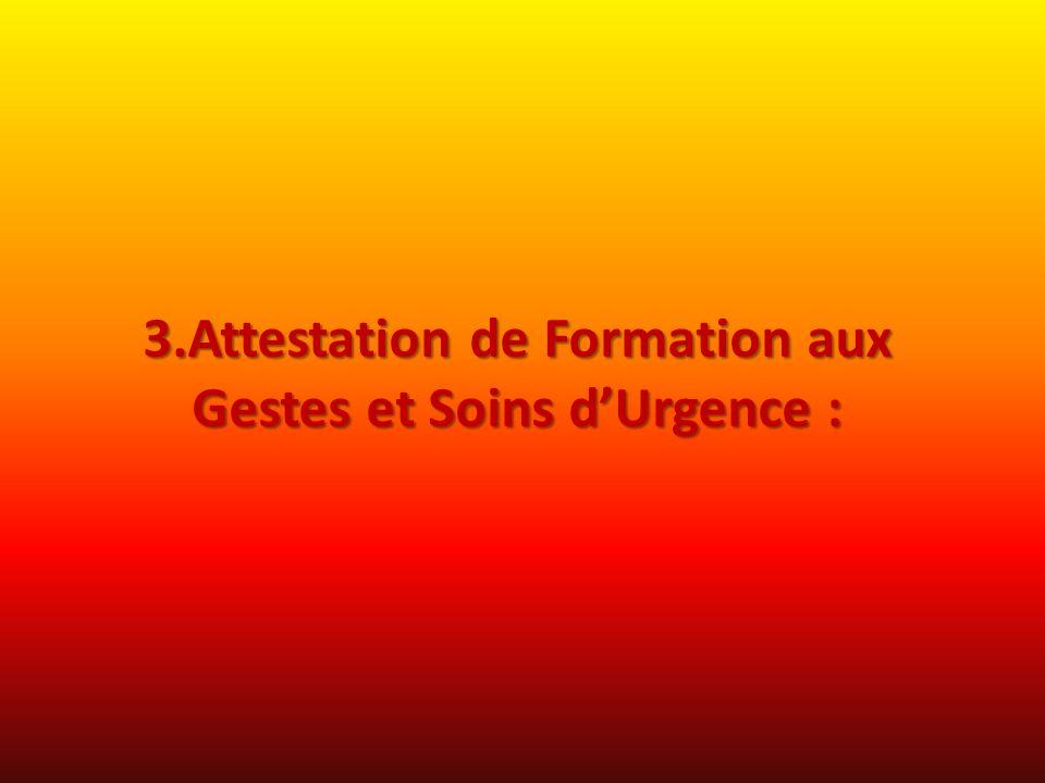 3.Attestation de Formation aux Gestes et Soins dUrgence :