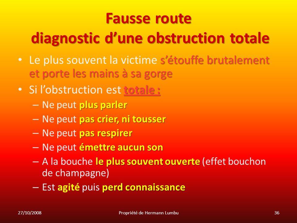 Fausse route diagnostic dune obstruction totale sétouffe brutalement et porte les mains à sa gorge Le plus souvent la victime sétouffe brutalement et