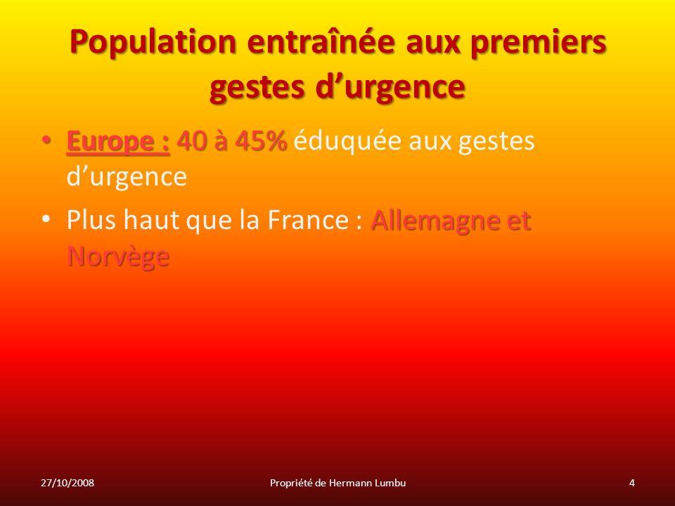 Population entraînée aux premiers gestes durgence Europe : 40 à 45% Europe : 40 à 45% éduquée aux gestes durgence Allemagne et Norvège Plus haut que l