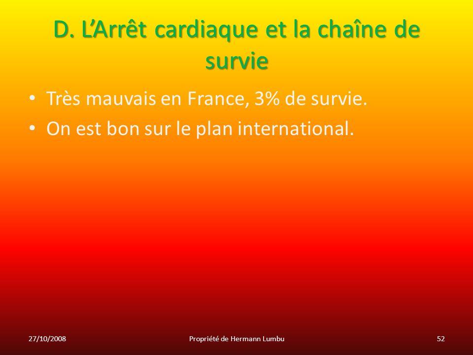 D. LArrêt cardiaque et la chaîne de survie Très mauvais en France, 3% de survie. On est bon sur le plan international. 27/10/200852Propriété de Herman