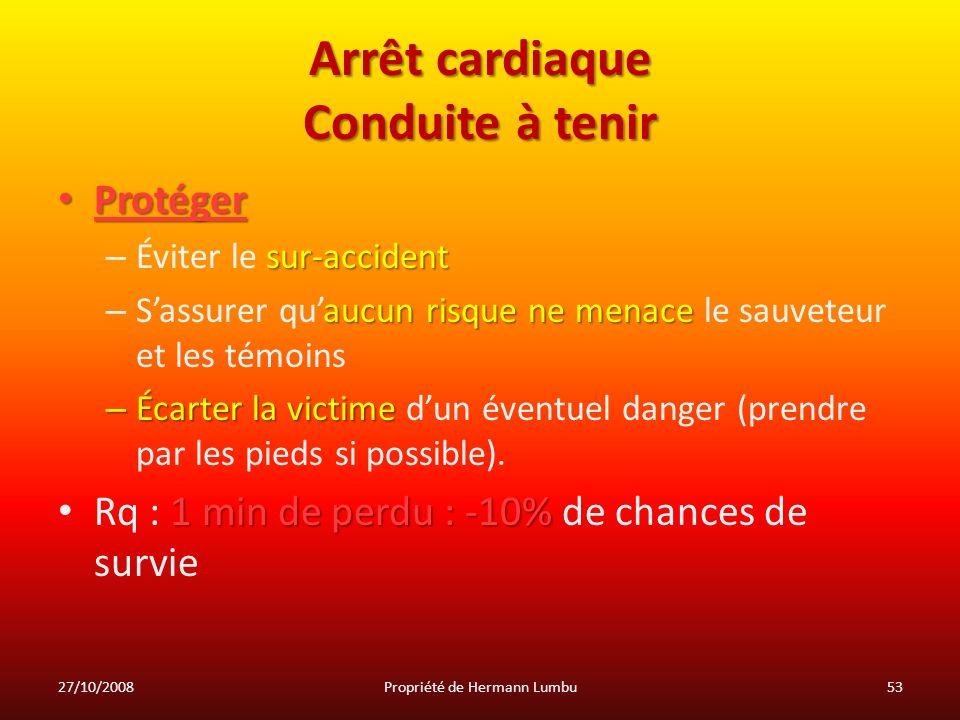 Arrêt cardiaque Conduite à tenir Protéger Protéger sur-accident – Éviter le sur-accident aucun risque ne menace – Sassurer quaucun risque ne menace le