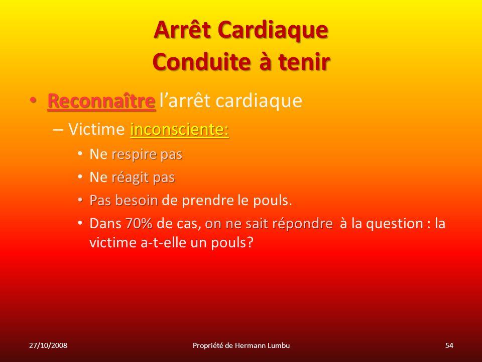 Arrêt Cardiaque Conduite à tenir Reconnaître Reconnaître larrêt cardiaque inconsciente: – Victime inconsciente: respire pas Ne respire pas réagit pas