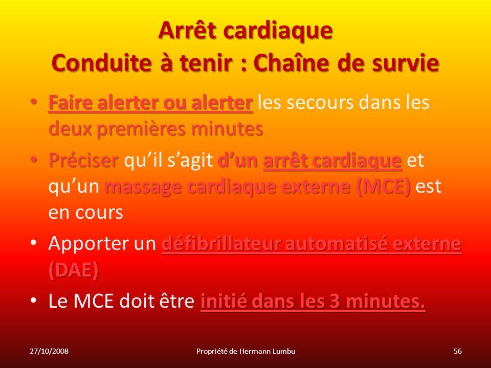 Arrêt cardiaque Conduite à tenir : Chaîne de survie Faire alerter ou alerter deux premières minutes Faire alerter ou alerter les secours dans les deux