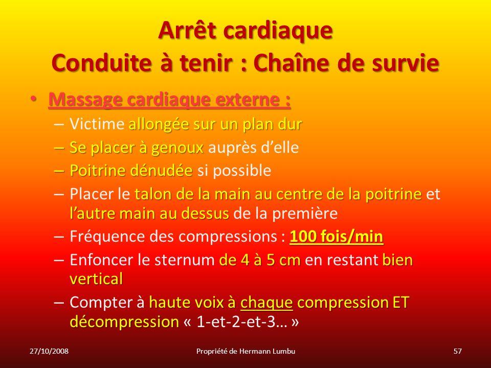 Arrêt cardiaque Conduite à tenir : Chaîne de survie Massage cardiaque externe : Massage cardiaque externe : allongée sur un plan dur – Victime allongé